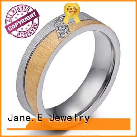 JaneE plating stainless steel promise rings for her fashion design for men