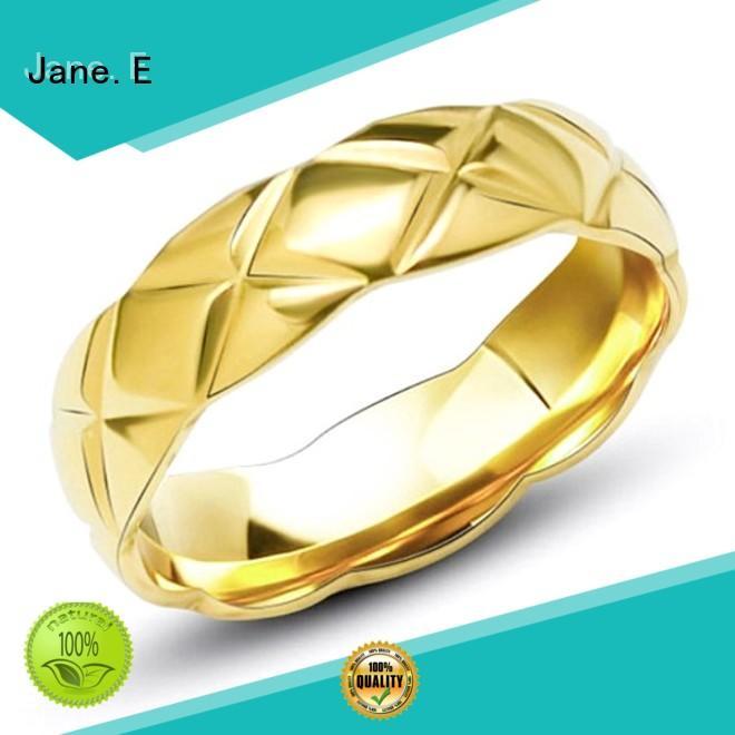 JaneE customized steel wedding rings comfortable for men