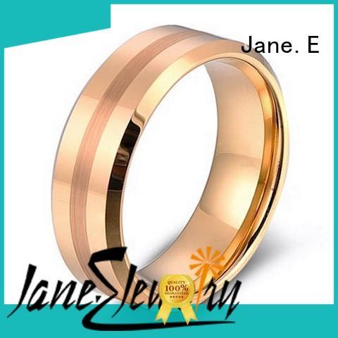 JaneE damascus texture tungsten carbide ring price exquisite for wedding