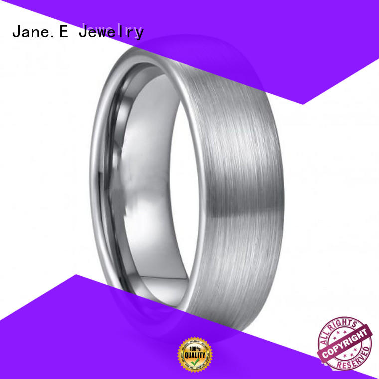 shiny polished tungsten ring koa wood matt for engagement