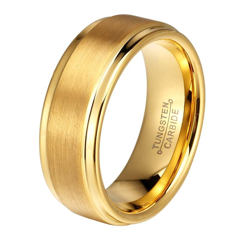 JaneE damascus texture tungsten carbide gold ring exquisite for gift-1