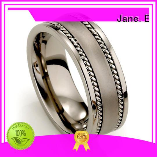 JaneE 8mm threads men's titanium wedding band modern design for wedding
