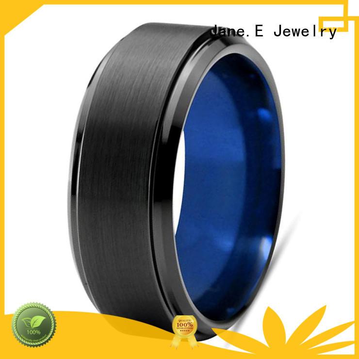 JaneE damascus texture mens tungsten carbide wedding bands matt for gift