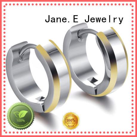 JaneE custom made titanium jewelry earrings IP gold for gift