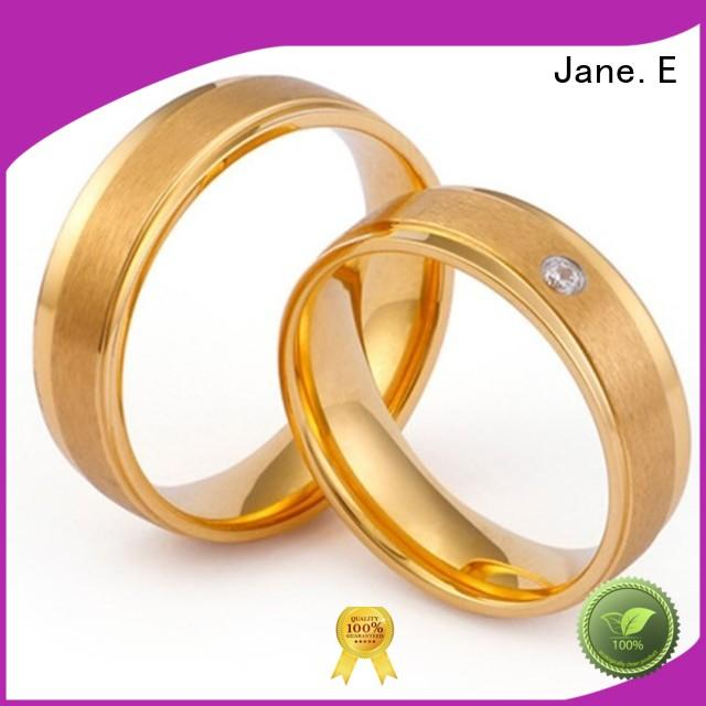 JaneE inlay women's stainless steel wedding rings fashion design for weddings