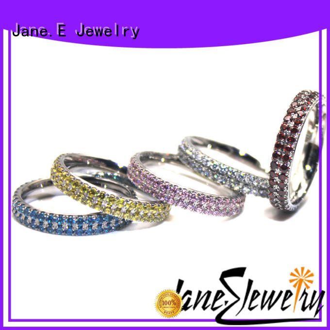 JaneE shiny steel band ring multi colors for men