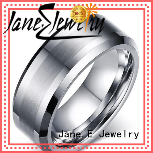 JaneE traditional mens wedding rings tungsten koa wood for engagement