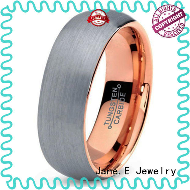 JaneE shiny polished tungsten wedding bands for her engraved for engagement