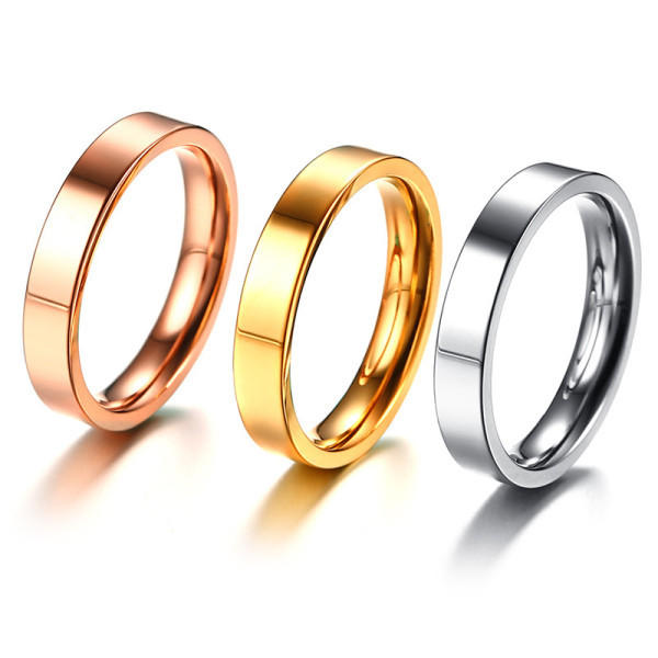 JaneE polished edge black titanium rings simple for engagement-2