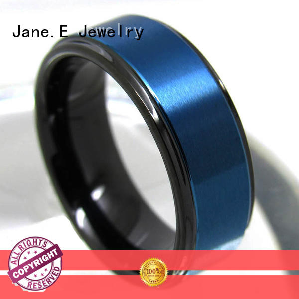 JaneE shiny polished tungsten carbide mens rings matt for engagement