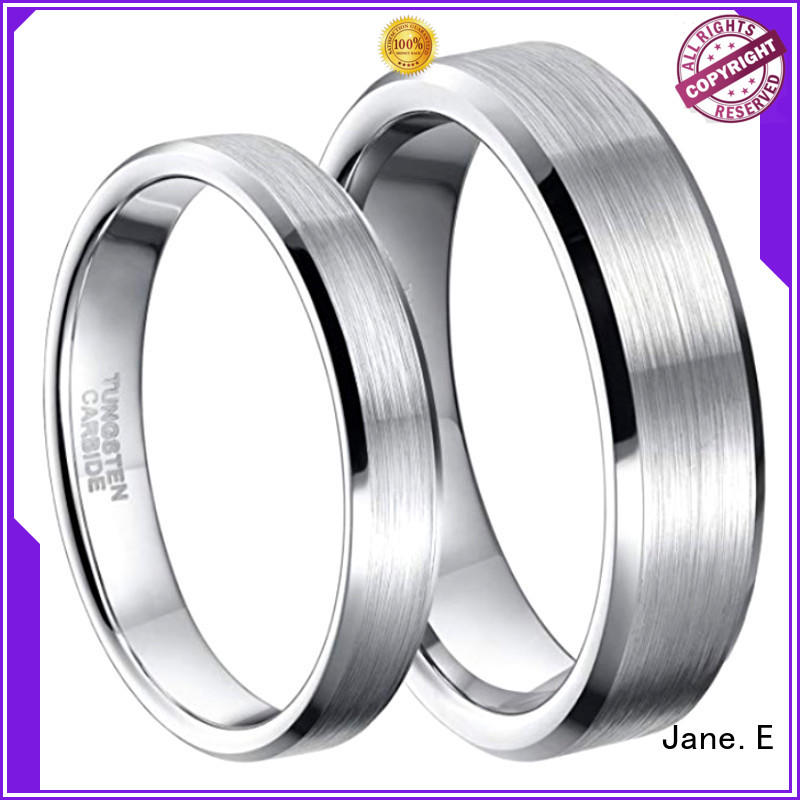 inlay brushed unique tungsten wedding bands engraved for engagement JaneE