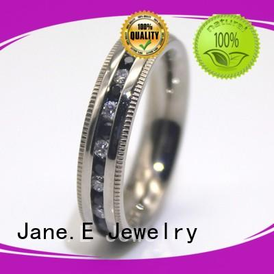 JaneE blue custom stainless steel rings top quality for men