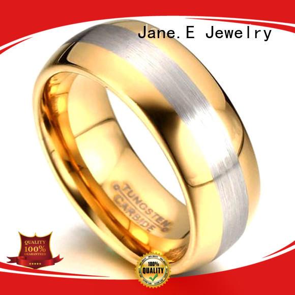 JaneE inlay brushed tungsten engagement rings matt for wedding