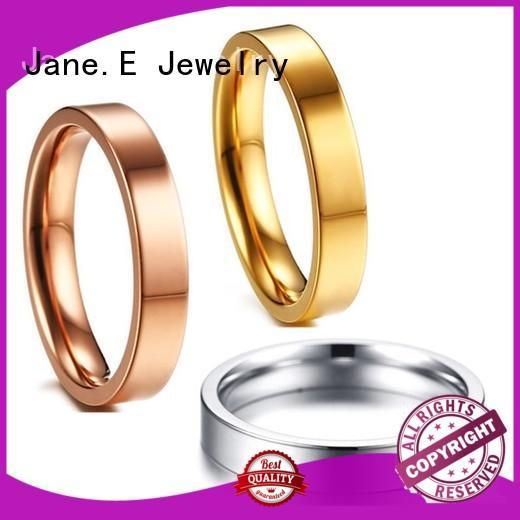 JaneE 8mm threads custom black titanium rings simple for wedding