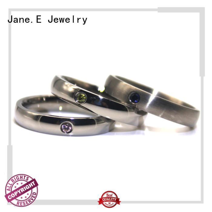JaneE shiny stainless steel ring comfortable for weddings