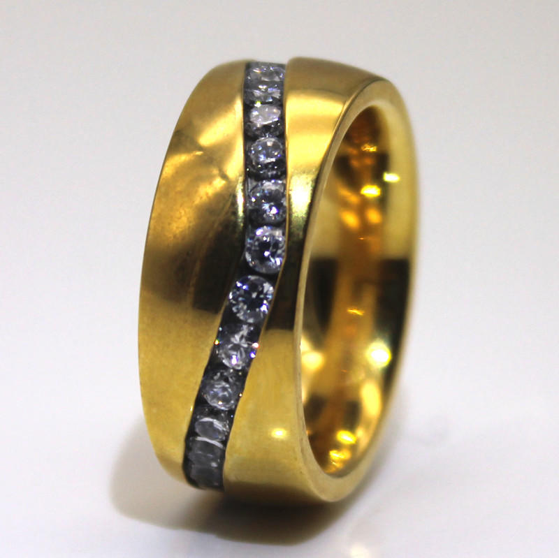 JaneE black hammered steel ring top quality for men-1