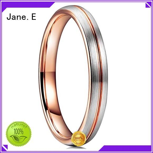 JaneE damascus texture tungsten wedding bands for her engraved for gift