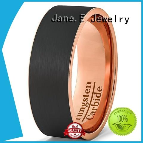 JaneE traditional black wedding rings for men engraved for engagement