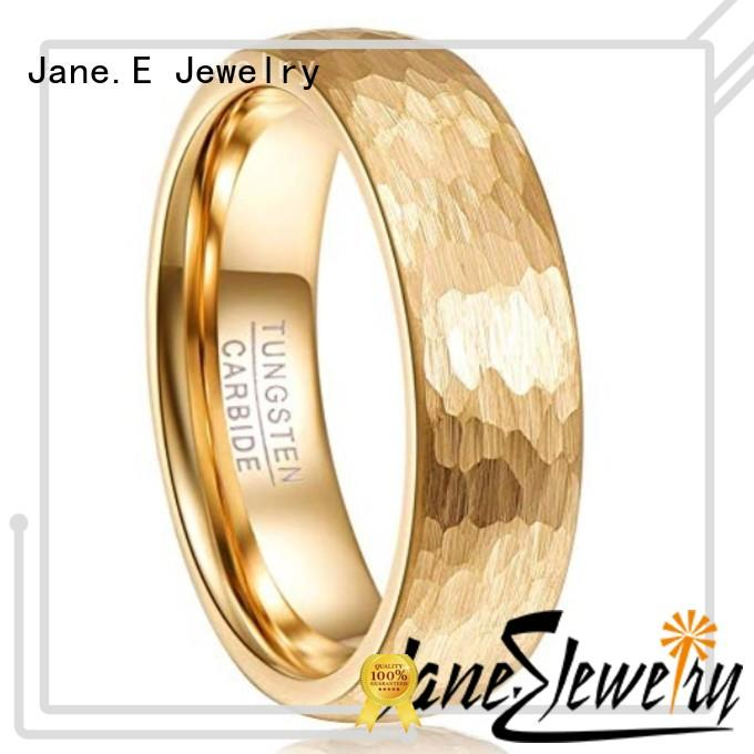 JaneE red opal black and gold tungsten ring matt for wedding