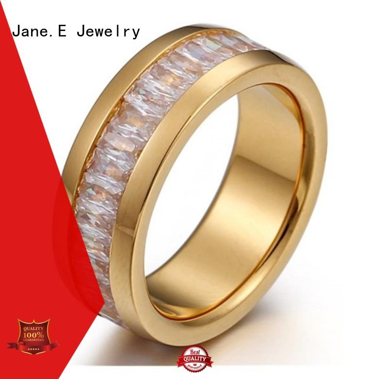 JaneE square edges stainless steel ring top quality for men