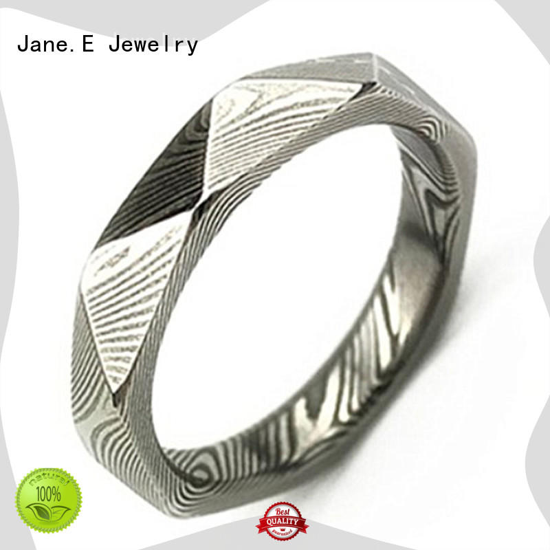 JaneE IP black plated damascus steel ring with wood inlay factory direct for engagement