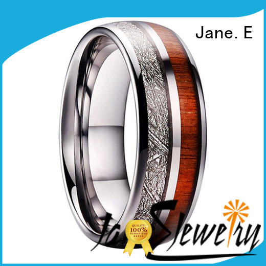 JaneE multi colors tungsten promise rings meteorite for engagement