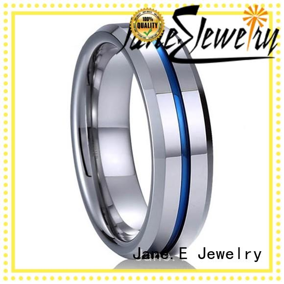 JaneE shiny polished tungsten rings for her exquisite for gift