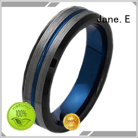 shiny polished black tungsten ring damascus texture engraved for wedding