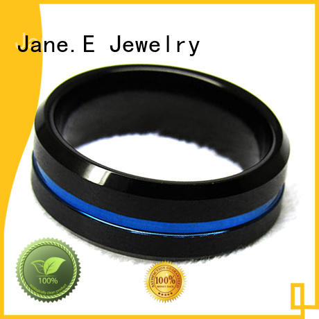 JaneE damascus texture tungsten band matt for wedding