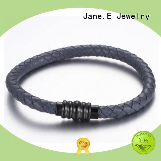 JaneE with genuine leather strap stainless steel bangles wholesale exquisite manufacturer