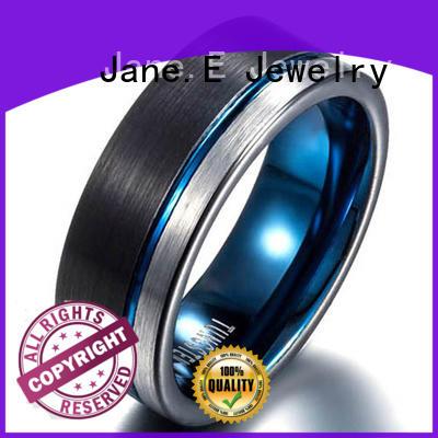 JaneE damascus texture custom tungsten ring matt for gift