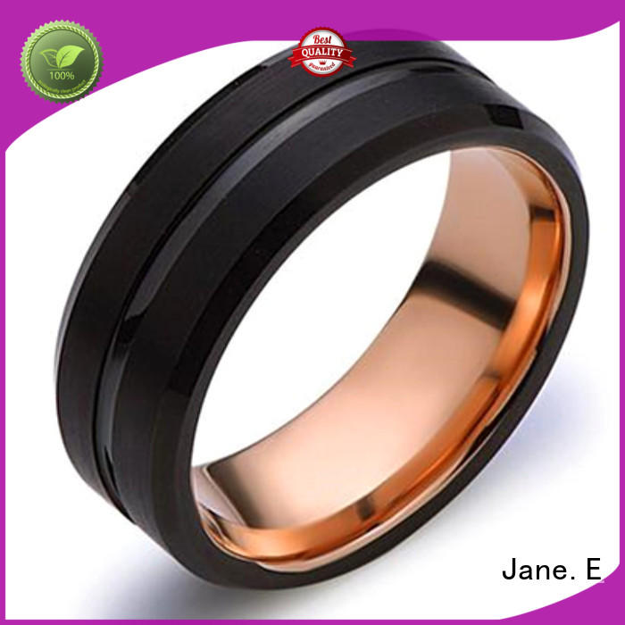 JaneE red opal tungsten carbide mens rings matt for gift