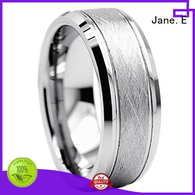 unique design wood tungsten ring inlay brushed engraved for gift