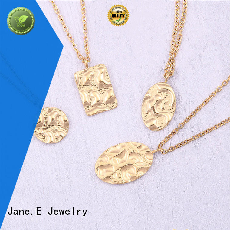 letter engraved 316l stainless steel necklace manual polished for decoration JaneE