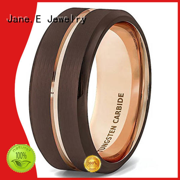 JaneE traditional tungsten wedding bands with blue inlay engraved for gift