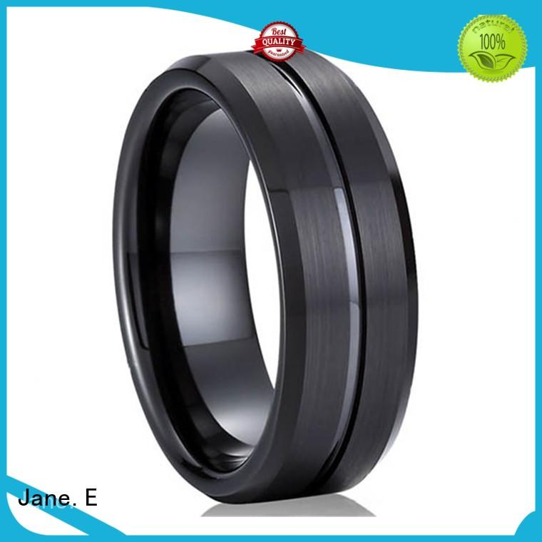 JaneE inlay brushed 6mm tungsten ring exquisite for wedding