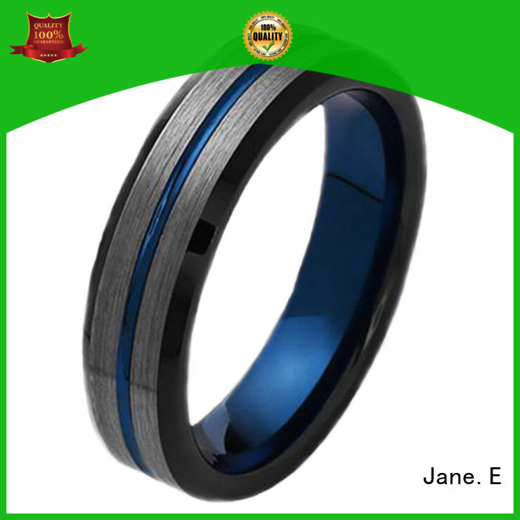 JaneE koa wood tungsten gold wedding bands engraved for wedding
