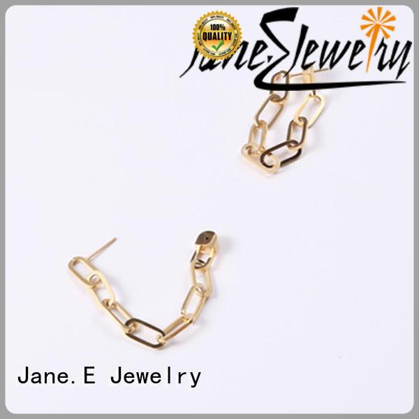JaneE cuff hoop 316l stainless steel earrings customized for women