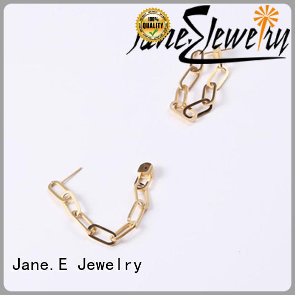 JaneE cuff hoop 316l stainless steel earrings customized for women