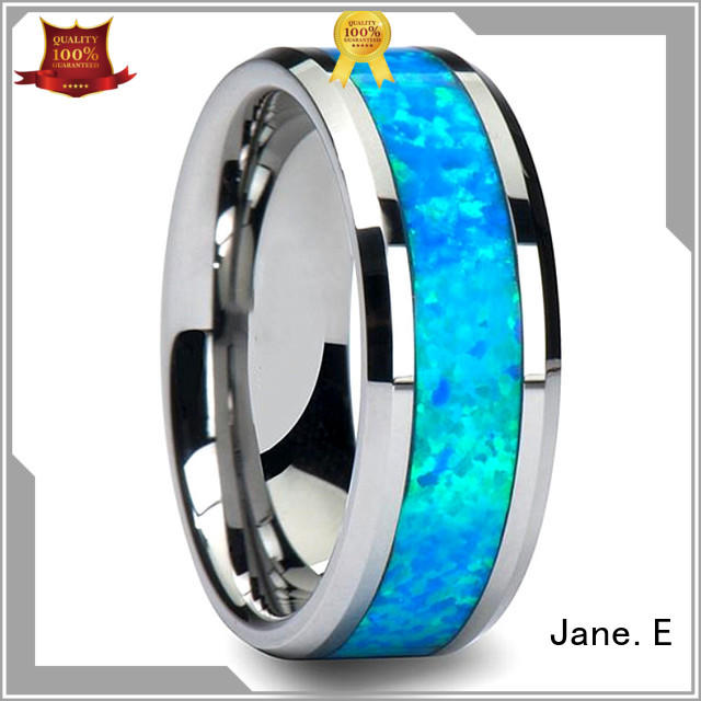 JaneE two tones tungsten wedding bands for her engraved for engagement