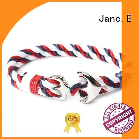 JaneE polished finished stainless steel rope bracelet high quality for anniversary