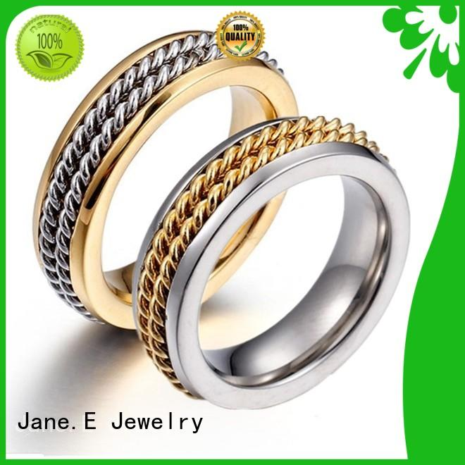 JaneE customized stainless steel jewelry rings comfortable for weddings