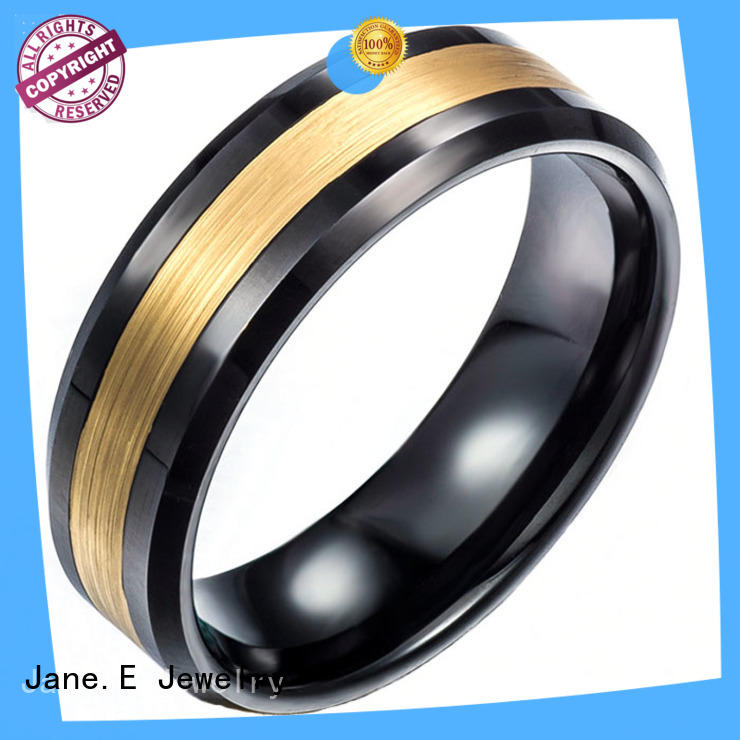 JaneE unique design black wedding rings for men matt for gift