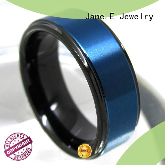 JaneE inlay brushed black wedding rings for men exquisite for wedding