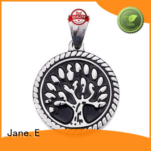JaneE fashion mens stainless steel necklace pendants leather chain for necklace