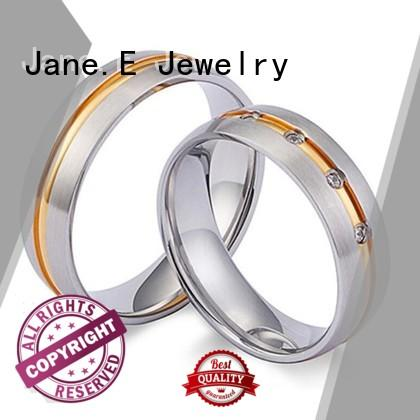 JaneE milgrain hammered steel ring multi colors for men