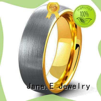 JaneE damascus texture tungsten rings for men exquisite for engagement