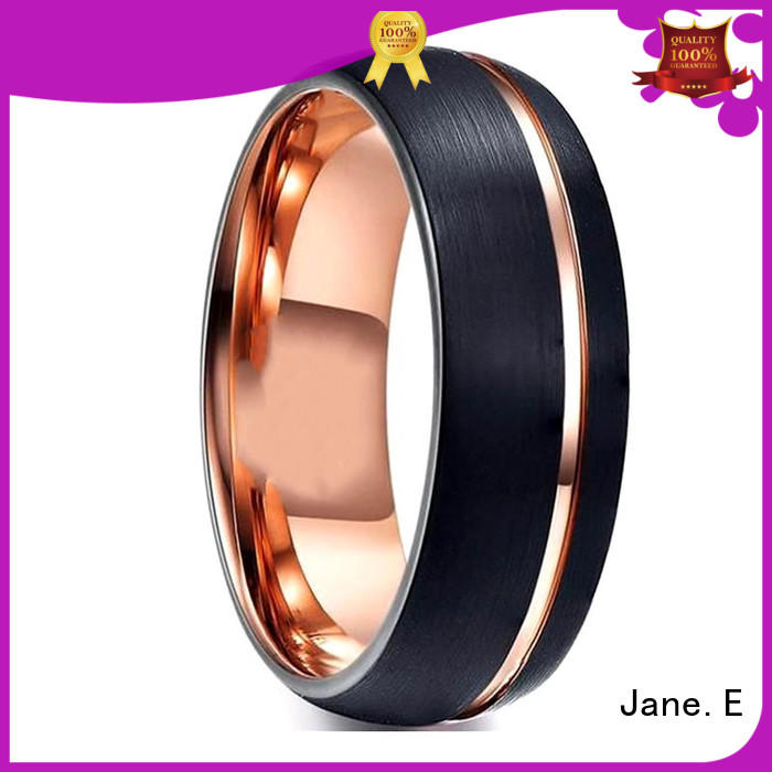 JaneE unique design women's tungsten engagement rings koa wood for engagement