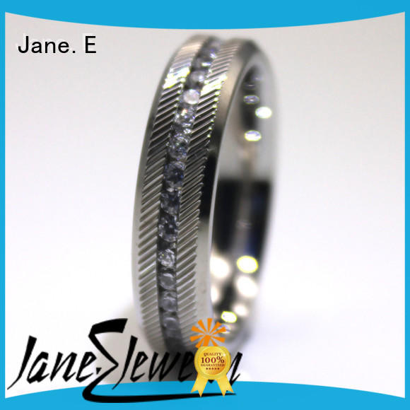 JaneE customized stainless steel wedding rings comfortable for men