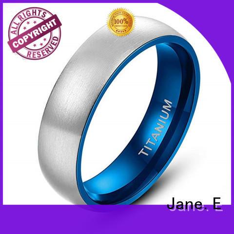 silver black titanium ring inlay modern design for wedding